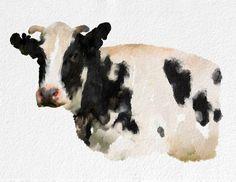 Cow Painting Art Print  Animal black white grey pink Home Decor  Wall Decor Kitchen Decor Beach Decor