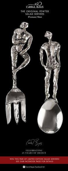 Celebrating 25 years in business, and to thank loyal customers and friends, Carrol Boyes has re-released, in an extremely limited number, her very first commercially available functional art piece, the Original Pewter Salad Servers – Woman/Man. Loyal Customer, African Design, Pewter, Art Pieces, Salad, Number, Woman, Friends, Business
