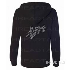 Rhinestone Hooded Jacket for Music Lovers.  This full zip hoodie comes with a rhinestone bling initial on the front left chest area of the jacket and the Treble Clef, Notes, Music design on back..  Dazzle and sparkle in this black hooded sweatshirt jacket with zipper front.  Makes a great gift idea for music lovers!