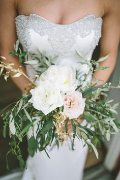 Roses + gilded eucalyptus | Photography: Willow & Stone Photography - willowandstonephotography.com/ Read More: http://www.stylemepretty.com/2015/06/17/grecian-aphrodite-inspired-bridal-shoot/