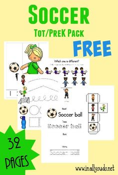 Spring Soccer season is here and this SUPER CUTE Soccer Tot & PreK/K Pack is filled with all types of activities!! 32 total pages :: www.inallyoudo.net