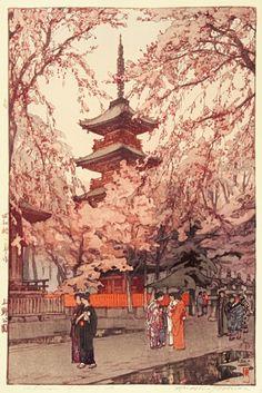 "Japanese Art Print ""A Glimpse of Ueno Park"" by Yoshida Hiroshi, woodblock print reproduction, Asian art, garden landscape, cherry blossoms Japanese Artwork, Japanese Painting, Japanese Prints, Japanese Style, Japan Illustration, Hiroshi Yoshida, Art Chinois, Art Asiatique, Art Japonais"