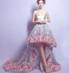 Strapless-High-Low-Wedding-Dress-Appliques-Trailing-Bridal-Gown-Stock-Size-2-16