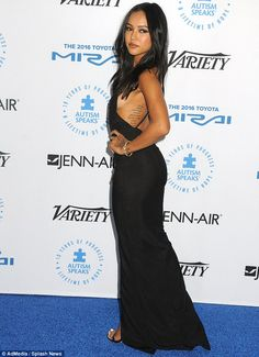 Turning every head: Karrueche Tran was a sight to behold at the Autism Speaks gala on Thur...