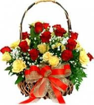 Yellow and Red Rose Basket to Pune delivery. Visit our site : www.puneflowersdelivery.com/flowers/wedding-flowers-to-pune.html