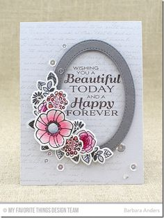 Pretty Posies, Pretty Posies Die-namics, Together Forever, Romantic Script Background, Stitched Oval Frames Die-namics - Barbara Anders  #mftstamps
