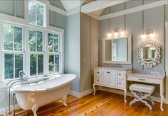 Bathroom. Traditional Bathroom Design. The trim and cabinet paint are Sherwin Williams Roman Column. #Bathroom #BathroomDesign #Traditionalinteriors