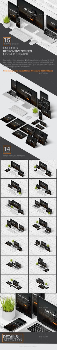 Unlimited Responsive Screen Mockup / Web Showcase