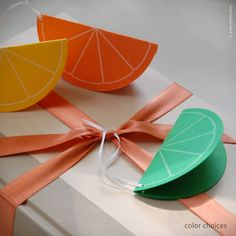 Cheery gift tag shaped like a half-moon slice of lemon, lime or orange. Thin white silk ribbon for tying to your gift. Details Tag front and back: yellow, orange or green pearlescent paper circle, fol