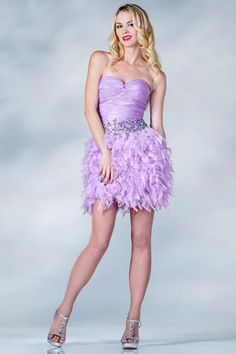PRIMA C1350 Feather Cocktail dress in Lilac