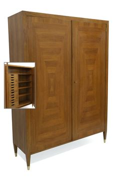 Walnut two door cabinet with interior shelving and drawers, the doors with inlaid banding and perpendicular grained panels. Bookcase Storage, Shelving, Sideboard Cabinet, Bookcases, Cabinets, Drawers, Doors, Interior, Furniture