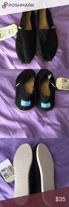 Toms Brand new black Toms. My friend got me these and they are a little snug. They are a 9 but would say fits more like an 8 1/2. TOMS Shoes Flats & Loafers