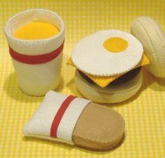Felt Food Pattern English Muffin Breakfast Sandwich Set PDF Pattern. $5.99, via Etsy.