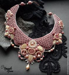 """Купить Колье """"Шармель"""" - розовый, айвори, Вышивка бисером, колье, ожерелье, вышитое колье"""