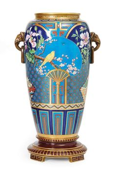 Minton & Co. Christopher Dresser exhibition vase, in the Japanese aesthetic style, English circa 1880.