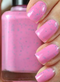 Pink nail polish with purple speckles!  Super easy AND super cute.  I wonder were I can get that!