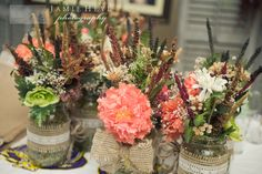Mason jar wedding centerpieces-Linda Donnelly, thought you might like this!