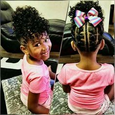87 Stunning Black Girls Hairstyles Ideas in Creative hairstyles for African-American girls and women. Plenty of natural doses knits and corn fields for a great source of inspiration! Lil Girl Hairstyles, Girls Natural Hairstyles, Natural Hairstyles For Kids, Kids Braided Hairstyles, Black Hairstyles, Wedding Hairstyles, Teenage Hairstyles, Creative Hairstyles, Little Girl Hair