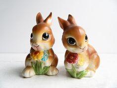 Vintage Enesco Bunny Rabbit Ceramic Figurines.