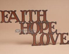 Rustic Metal Art Wall Plaque  -Faith, Hope, Love  (p101)
