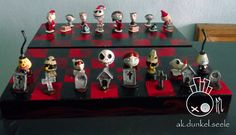 Nightmare Before Christmas Bighead chess set. Lovely by Ak.Dunkel.seele