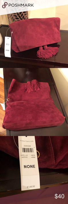 NWT Red Suede Clutch Ann Taylor fold over clutch. Lots of room in this bag. Brand new/never worn. Enjoy  Ann Taylor Bags Clutches & Wristlets