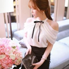 Stylish New Fashion Lady Women Sleeveless Off Shoulder Slash Neck Chiffon Top Blouse