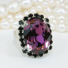 Purple Cocktail Ring Amethyst Ring Plum Ring Purple Crystal Ring,Purple Adjustable Ring,Oval Statement Ring Swarovski Crystals,Silver,SR39