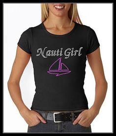 NAUTI GIRL W/ BOAT RHINESTONE BLING SHIRT