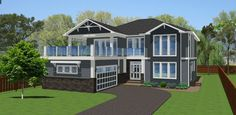 Spacious Modern Home With Full Inlaw Suite This inviting family home features large open living areas, a covered deck and sun deck, a full master suite with his and hers walk-in closets, and ample bonus space in the lower floor and basement.House Plan No.195296 House Plans by WestHomePlanners.com