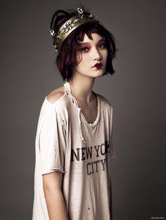 Mona Matsuoka wears Vintage T-shirt, Nose Ring Chris Habana and Crown Vauje for Photoshoot