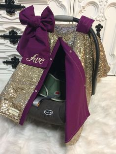 Gold sparkle car seat canopy with bow and name / carseat cover