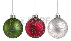 christmas stationary: Christmas Ornaments isolated on a white background Stock Photo