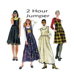 McCalls 2910 2 Hour Jumper Dress Mini or Maxi Length Scoop Neckline Pull Over With Raised Waist Pleated Skirt Detail Trims Sz 12-14-16 UNCUT by FindCraftyPatterns on Etsy