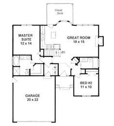 Plan #1179 - Ranch style small house plan 2-bedroom split | House ...