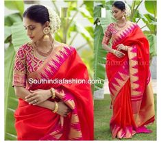 Kanjeevaram Sarees and Designer Bridal Blouses by Bhargavi Kunam – South India Fashion Dress Indian Style, Indian Wear, Indian Outfits, Party Wear Sarees Online, Silk Saree Blouse Designs, Blouse Patterns, Indian Sarees Online, Latest Designer Sarees, Saree Trends