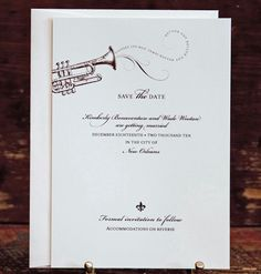"""""""Laissez les bon temps rouler and rouler and rouler..."""" The good times spill from the bell of this trumpet, making sure that guests know that this New Orleans wedding is going to be filled with fun.   http://www.scriptura.com/save-the-date/trumpet-save-the-date.php"""