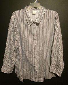 Roamans Women's Plus Sized Shirt-3X-Black Gray White Striped Long Sleeve Cotton #Roamans #ButtonDownShirt