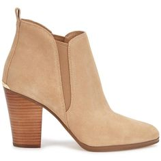 Womens Ankle Boots Michael Kors Brandy Sand Suede Ankle Boots (4,855 MXN) ❤ liked on Polyvore featuring shoes, boots, ankle booties, accessories, ankle boots, slip on ankle boots, pull on boots, suede bootie, short boots and high heel booties