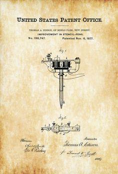 Stencil Pen Patent Print - Tattoo Gun Patent Thomas Edison Patent Tattoo Parlor Art Tattoo Print by PatentsAsPrints