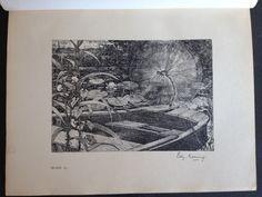 """Edzard Koning maakte negen litho's voor Frederiks van Eedens """"De Kleine Johannes"""" de luxe editie van 1898 (derde druk). Daarnaast de vignetten en een versierde boekband. Dit is de eerste litho met de grote blauwe waterjuffer """"haar vleugels bleven in een wijden cirkel trillen"""" (blz.15)."""