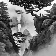 The Art Of Animation — Lorenzo Lanfranconi - . Landscape Pencil Drawings, Landscape Tattoo, Landscape Sketch, Art Drawings Sketches, Landscape Edging, Chinese Landscape Painting, Japanese Landscape, Landscape Paintings, Japanese Artwork