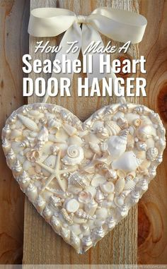 Make a DIY heart-shaped door hanger with seashells, pearls, and rhinestones. Perfect idea instead of a wreath for summer decor and crafts! Craft activity recommend by @kenary.
