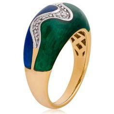 Anel em Ouro Amarelo com Mina Verde, Mina Azul e Diamantes
