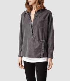 Womens Route Shirt (Indicot Black) | ALLSAINTS.com