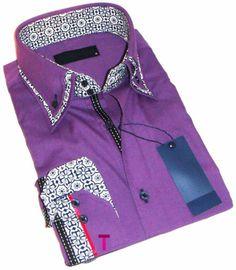 Brand New Mens Formal, Smart, Purple, Black / White Double Collar Slim Fit Shirt