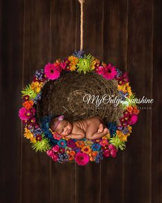 Flower puff layer by Strawberry Sprinkles Photo Props. Newborn prop layer. Crochet flower layer. Newborn photography inspiration. Floral newborn photo. Hanging wreath.