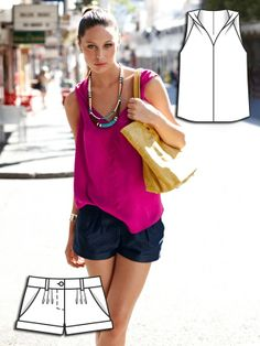 Burdastyle tank + pleated shorts. Cute twist feature. A very wearable summer outfit.