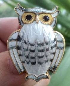 Super Norwegian Sterling Silver & Enamel Owl Brooch  -  David Andersen Norway ie.picclick.com