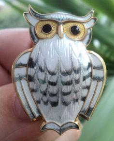 Super Norwegian Sterling Silver & Enamel Owl Brooch  -  David Andersen Norway ie.picclick.com